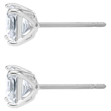 Clous d'oreilles Attract, Cristal taille carré, petit, Blanc, Métal rhodié - Swarovski, 5509936