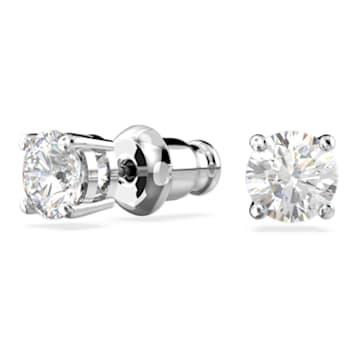 Clous d'oreilles Attract, Cristal taille rond, Blanches, Métal rhodié - Swarovski, 5509937