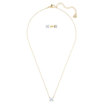 Attract set, Square cut crystal, White, Gold-tone plated - Swarovski, 5510683
