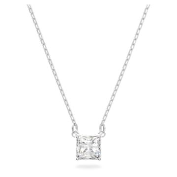 Attract 项链, 正方形切割, 白色, 镀铑 - Swarovski, 5510696