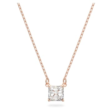 Attract necklace, Square, White, Rose gold-tone plated - Swarovski, 5510698