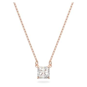 Colier Attract, alb, placat în nuanță aur roz - Swarovski, 5510698