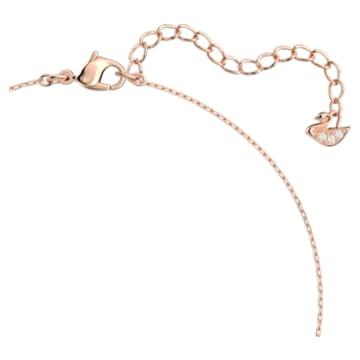Attract 项链, 正方形切割, 白色, 镀玫瑰金色调 - Swarovski, 5510698