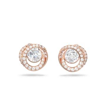 Generation Stud Pierced Earrings, White, Rose-gold tone plated - Swarovski, 5511012