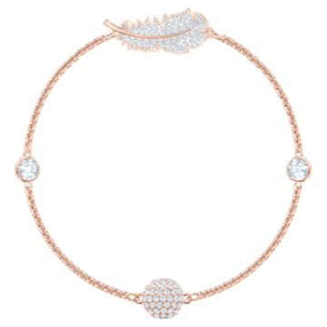 Swarovski Remix Collection Feather Strand, weiss, Rosé vergoldet - Swarovski, 5511088