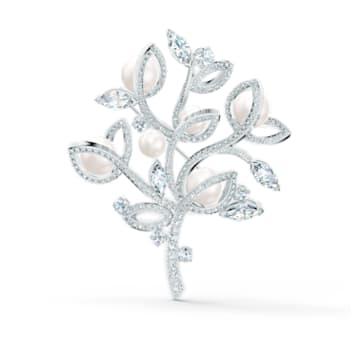 Leonore Tree 胸針, 白色, 鍍白金色 - Swarovski, 5511166