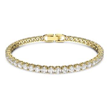 Brățară Tennis Deluxe, Alb, Placat cu auriu - Swarovski, 5511544