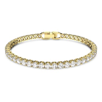 Tennis Deluxe karkötő, fehér, arany árnyalatú bevonattal - Swarovski, 5511544