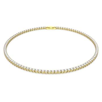Colar Tennis Deluxe, branco, banhado com tom dourado - Swarovski, 5511545