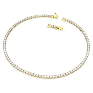 Tennis Deluxe 項鏈, 球形切割, 白色, 鍍金色色調 - Swarovski, 5511545