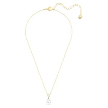 Solitaire Pendant, White, Gold-tone plated - Swarovski, 5511557