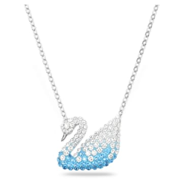 Swarovski Iconic Swan 链坠, 天鹅, 蓝色, 镀铑 - Swarovski, 5512095