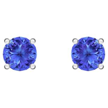 Attract Stud Pierced Earrings, Blue, Rhodium plated - Swarovski, 5512385
