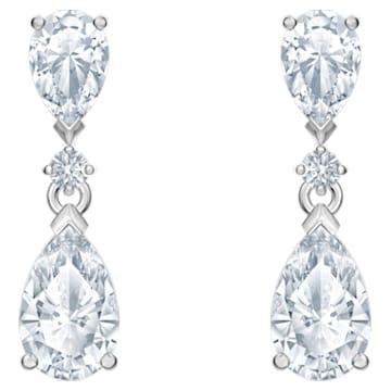 Attract Pierced Earrings, White, Rhodium plated - Swarovski, 5512393