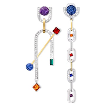 Spectacular Pierced Earrings, Dark multi-colored, Mixed metal finish - Swarovski, 5512470