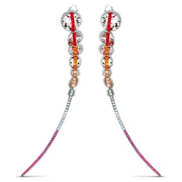 Boucles d'oreilles clip Spectrum Shine, Rouge, Métal rhodié - Swarovski, 5512472