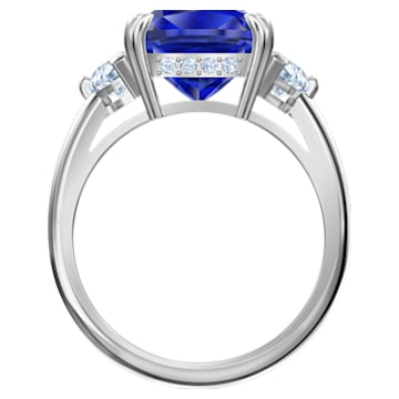 Anello cocktail Attract, azzurro, Placcatura rodio - Swarovski, 5512566