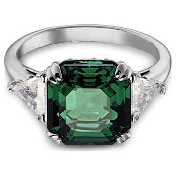 Attract koktélgyűrű, zöld színű, ródium bevonattal - Swarovski, 5512574