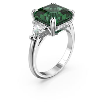 Attract Cocktail Ring, Green, Rhodium plated - Swarovski, 5512574