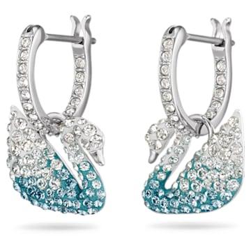 Swarovski Iconic Swan earrings, Swan, Blue, Rhodium plated - Swarovski, 5512577
