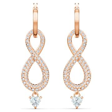Τρυπητά σκουλαρίκια Swarovski Infinity, λευκά, επιχρυσωμένα σε χρυσή ροζ απόχρωση - Swarovski, 5512625