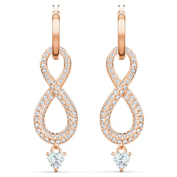 Swarovski Infinity Серьги, Белый Кристалл, Покрытие оттенка розового золота - Swarovski, 5512625