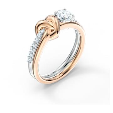 Anel Lifelong Heart, branco, acabamento em vários metais - Swarovski, 5512626