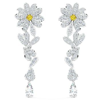 Brincos para orelhas furadas Eternal Flower, amarelos, acabamento em vários metais - Swarovski, 5512655