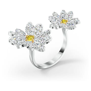 Inel deschis Eternal Flower, galben, finisaj metalic mixt - Swarovski, 5512656