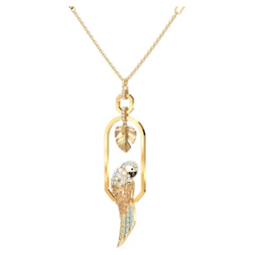 Tropical Parrot Necklace, Light multi-colored, Gold-tone plated - Swarovski, 5512686
