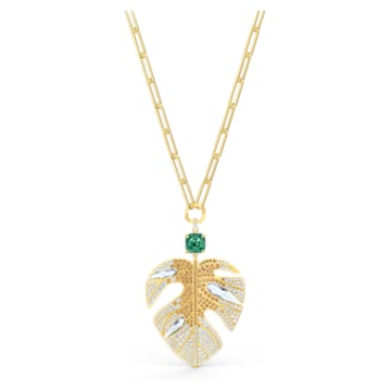 Pendente Tropical Leaf, Foglia, Multicolore, Placcato color oro - Swarovski, 5512695