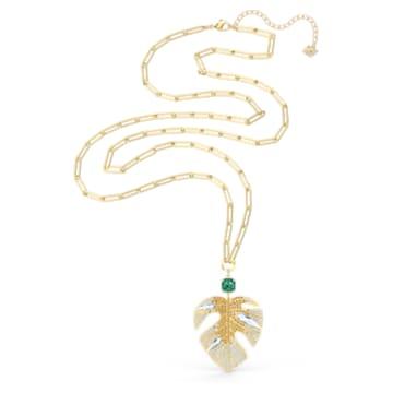 Tropical Leaf Pendant, Light multi-coloured, Gold-tone plated - Swarovski, 5512695