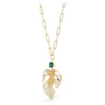 Tropical Leaf 链坠, 叶子, 流光溢彩, 镀金色调 - Swarovski, 5512695