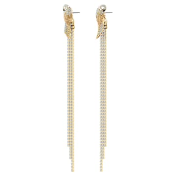 Tropical ParRot Pierced Earrings, Light multi-coloured, Gold-tone plated - Swarovski, 5512708