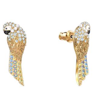 Tropical Parrot 穿孔耳環, 淺色漸變, 鍍金色色調 - Swarovski, 5512708