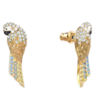 Tropical Parrot Pierced Earrings, Light multi-colored, Gold-tone plated - Swarovski, 5512708