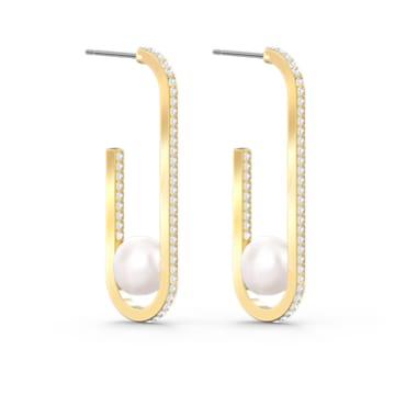 So Cool Pearl Pierced Earrings, White, Gold-tone plated - Swarovski, 5512736