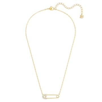 Collana So Cool Pin, bianco, placcato color oro - Swarovski, 5512760