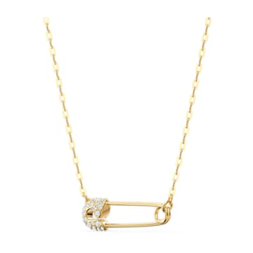 So Cool Pin 項鏈, 白色, 鍍金色色調 - Swarovski, 5512760