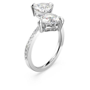 Pierścionek Attract Soul Heart, biały, powlekany rodem - Swarovski, 5512854