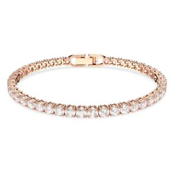 Pulseira Tennis Deluxe, Branca, Banhada a rosa dourado - Swarovski, 5513400