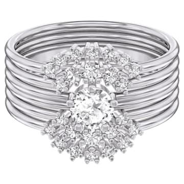 Zestaw pierścionków Moonsun, biały, powlekany rodem - Swarovski, 5513980