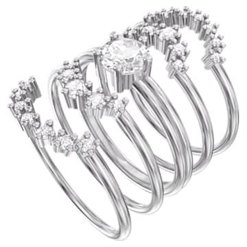 Moonsun Ring Set, White, Rhodium plated - Swarovski, 5513981