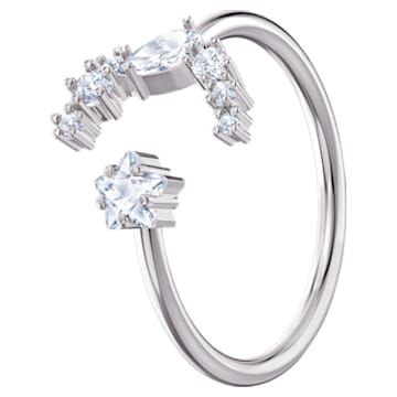 Moonsun Open Ring, White, Rhodium plated - Swarovski, 5513982