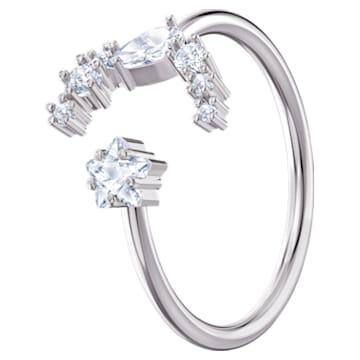 Moonsun open ring, Wit, Rodium verguld - Swarovski, 5513982