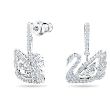 Boucles d'oreilles Dancing Swan, Cygne, Blanc, Métal rhodié - Swarovski, 5514420