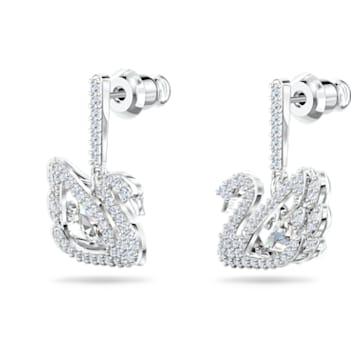 Orecchini Dancing Swan, Cigno, Bianco, Placcato rodio - Swarovski, 5514420