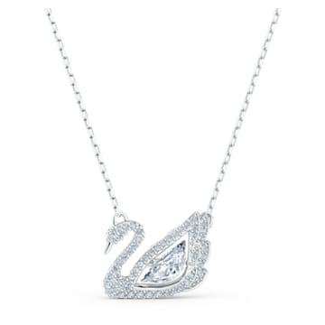 Collier Dancing Swan, blanc, métal rhodié - Swarovski, 5514421