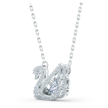 Dancing Swan 項鏈, 天鵝, 白色, 鍍白金色 - Swarovski, 5514421