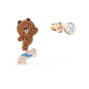 Line Friends Skateboard Pierced Earrings, Brown, Rose-gold tone plated - Swarovski, 5514438